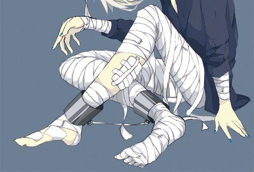 | injured | Bandages.