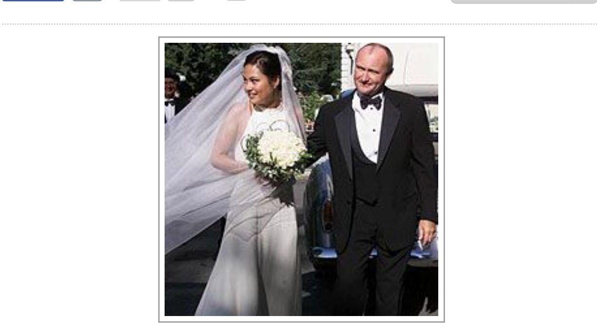 Carolyn kennedy bessette wedding dress  Phil Collins and Orianne Cevey   Celeberties Weddings