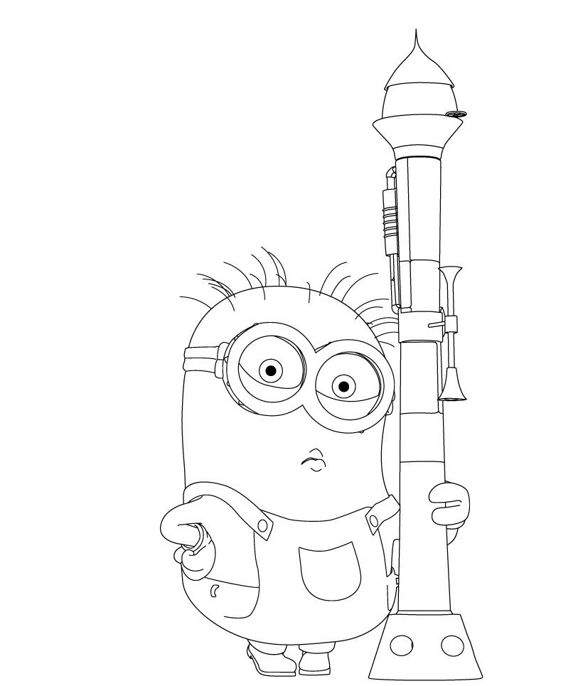 Despicable Me Coloring Pages Minion And Bazooka 820