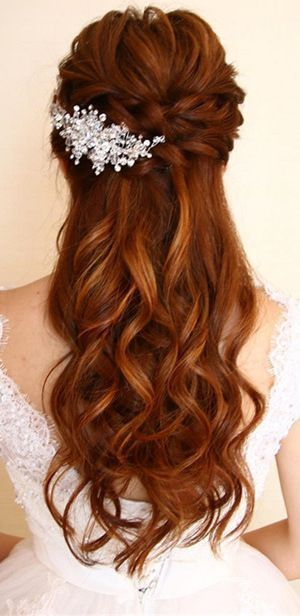 amazing half up half down wedding hairstyles #WeddingHairstyles ...