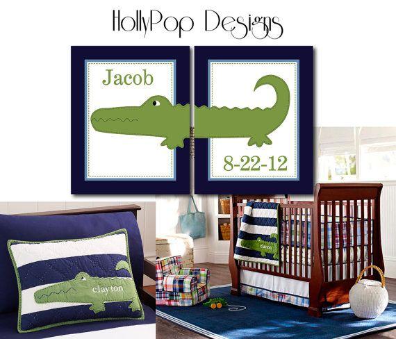 Nursery Wall Decor Alligator Madras Green Blue Baby Boy Bedroom Set Of 2 Prints Art For Kids Childrens Room Personalized