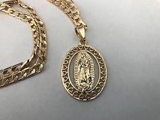 Virgen de Guadalupe Oro Laminado Medalla con Cadena 24  bd7838de7cd