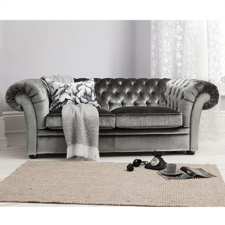Chesterfield Styled 3 Seat Grey Velvet Sofa Allissias Attic