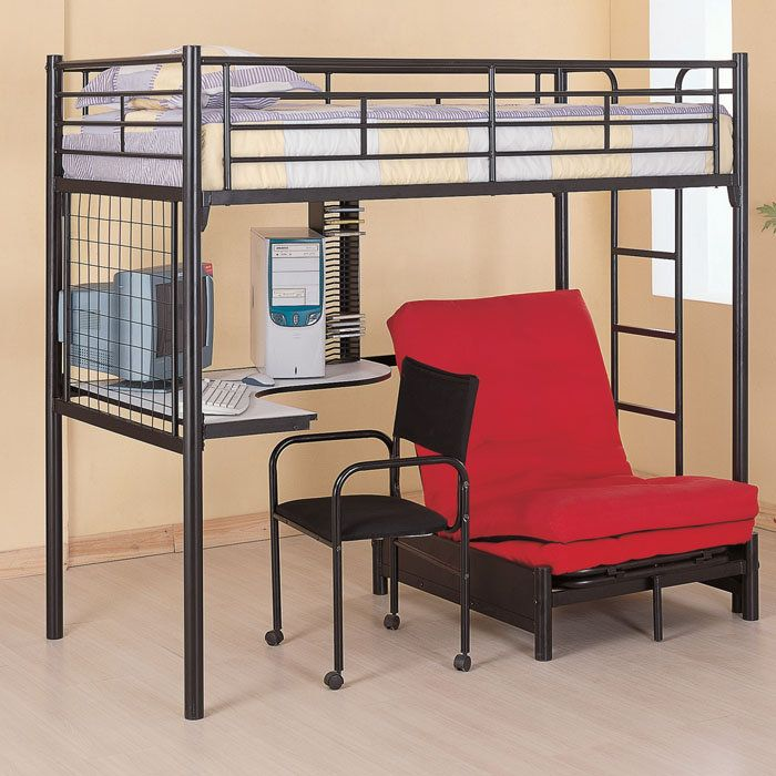 Coaster Fine Furniture 2209 Metal Bunk Bed With Futon Desk Chair And Cd Rack Black Finish This Twin Workstation Loft Features Full Length Guard Rails