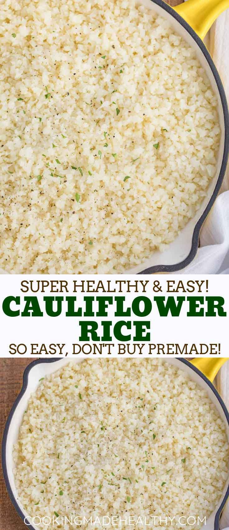 Cauliflower Rice is a soft and nutty low carb side dish made with cauliflower, onion, and seasoning. It's the PERFECT low carb substitute for rice or pasta, and ready in under 20 minutes! #cauliflowerrice #rice #healthy #stirfry #cauliflower #paleo #cookingmadehealthy #seasonedricerecipes