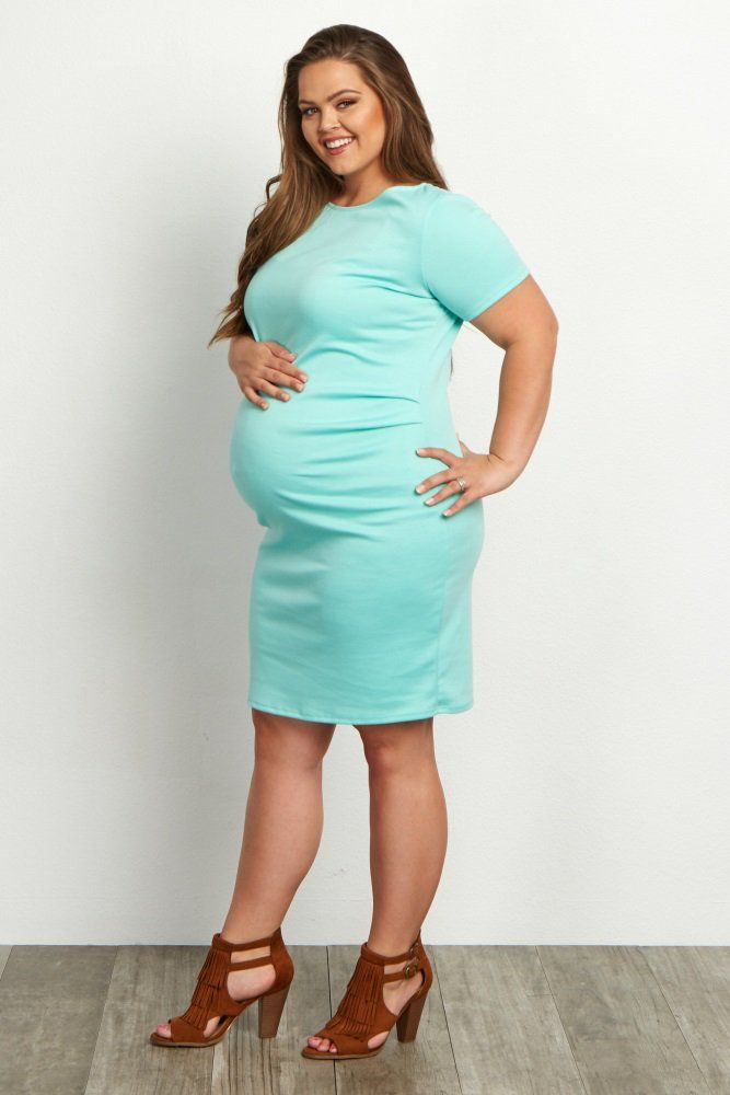 Mint Green Short Sleeve Fitted Plus Size Maternity Dress Baby