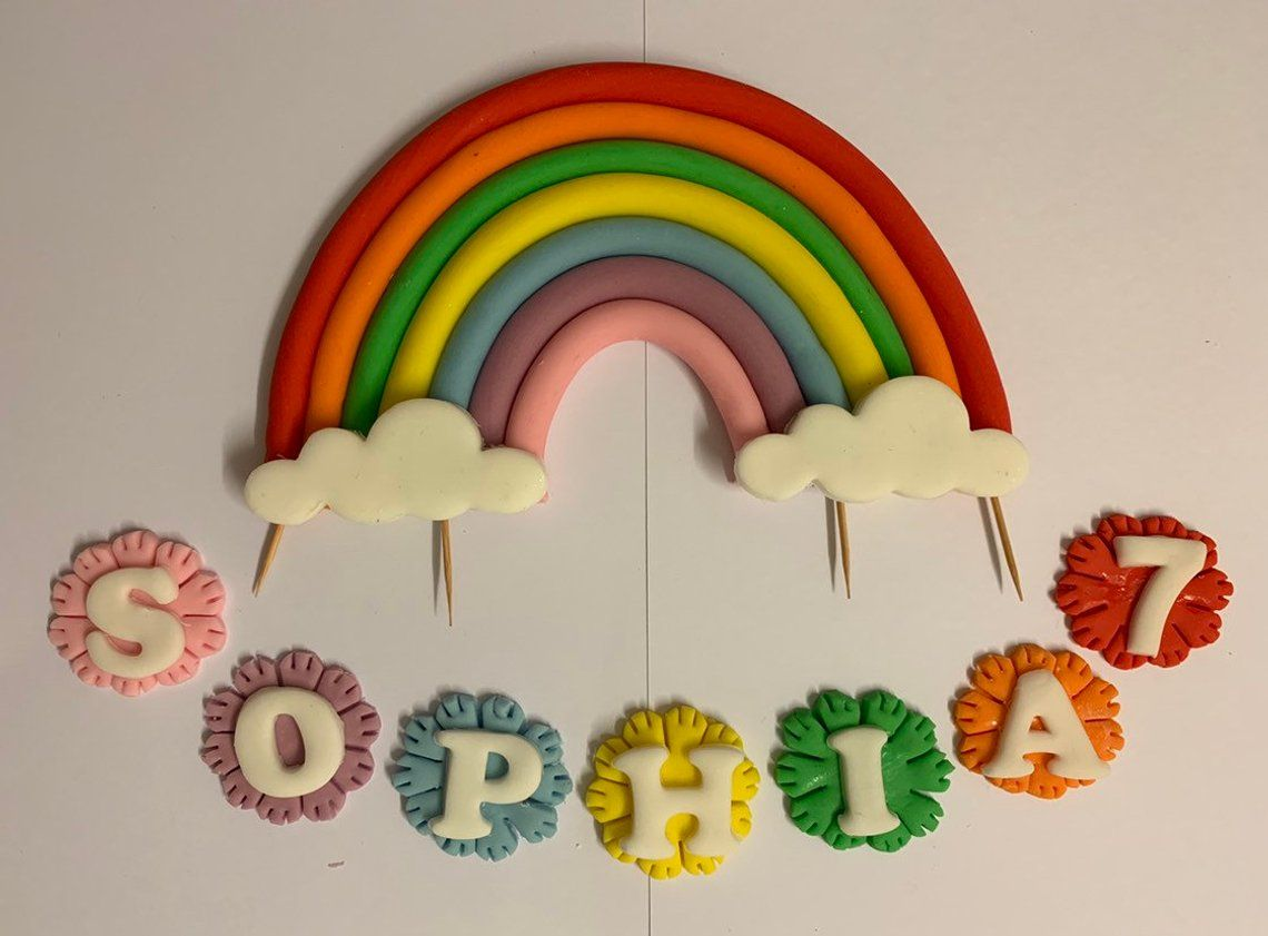 Edible fondant rainbow personalised bright cake toppers