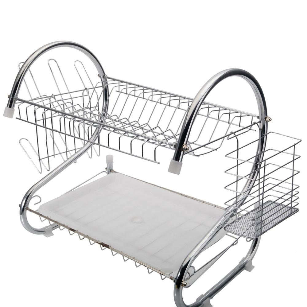 2 Tier Multi Function Stainless Steel Dish Drying Rack Cup Drainer