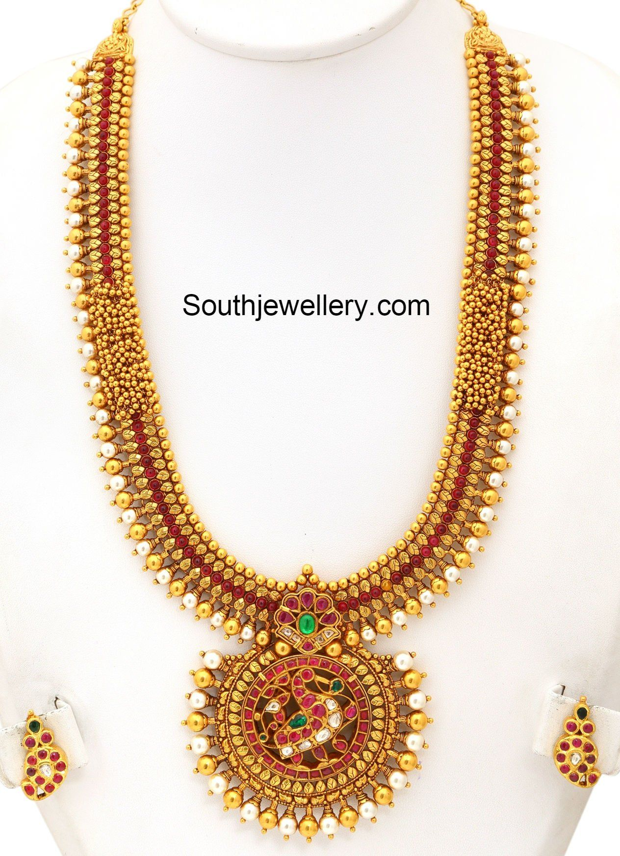 22 carat gold floral designer pendant with multiple beads chain and - Antique Gold Haram Antique Goldchains