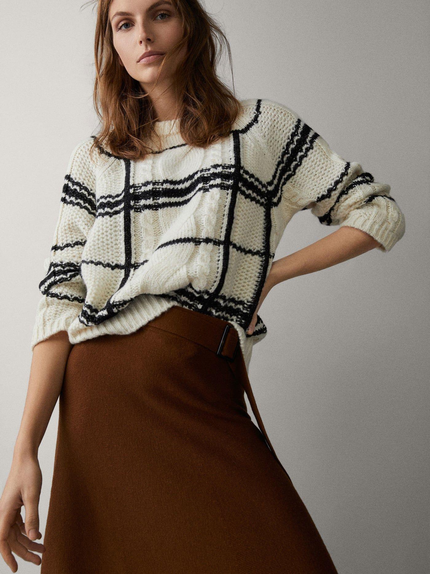Check intarsia sweater in 2019