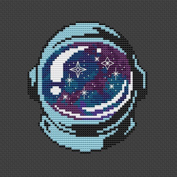 Photo of Astronaut cross stitch pattern Space cross stitch Galaxy Kids room cross stitch Stars Spaceman Helmet Counted Cross Stitch Instant download