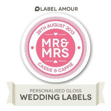 Personalised mr mrs wedding stickers medium amazon co uk kitchen