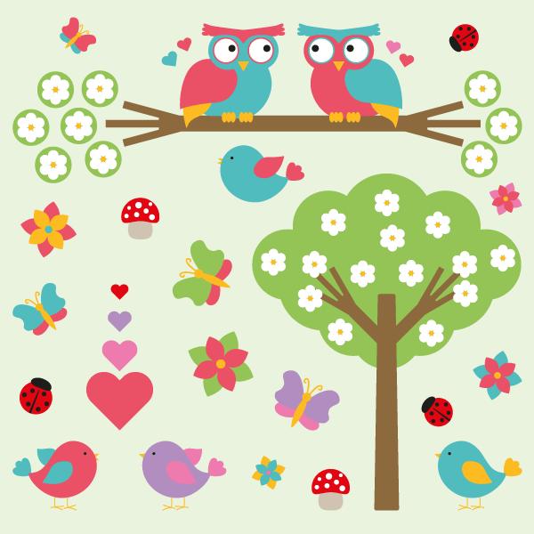Valentine Vectors Cartoon Nature Elements Flowers Tree