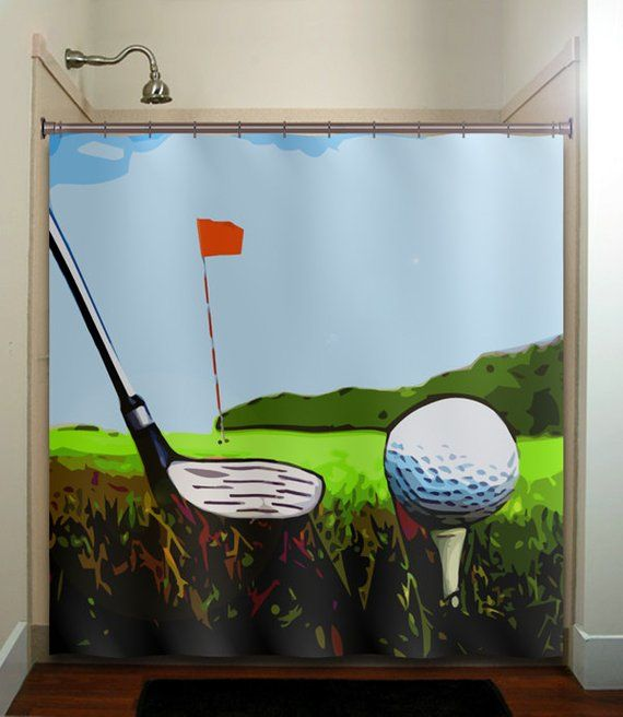 Golf Shower Curtain Extra Long Fabric Shower Stall Custom Wall
