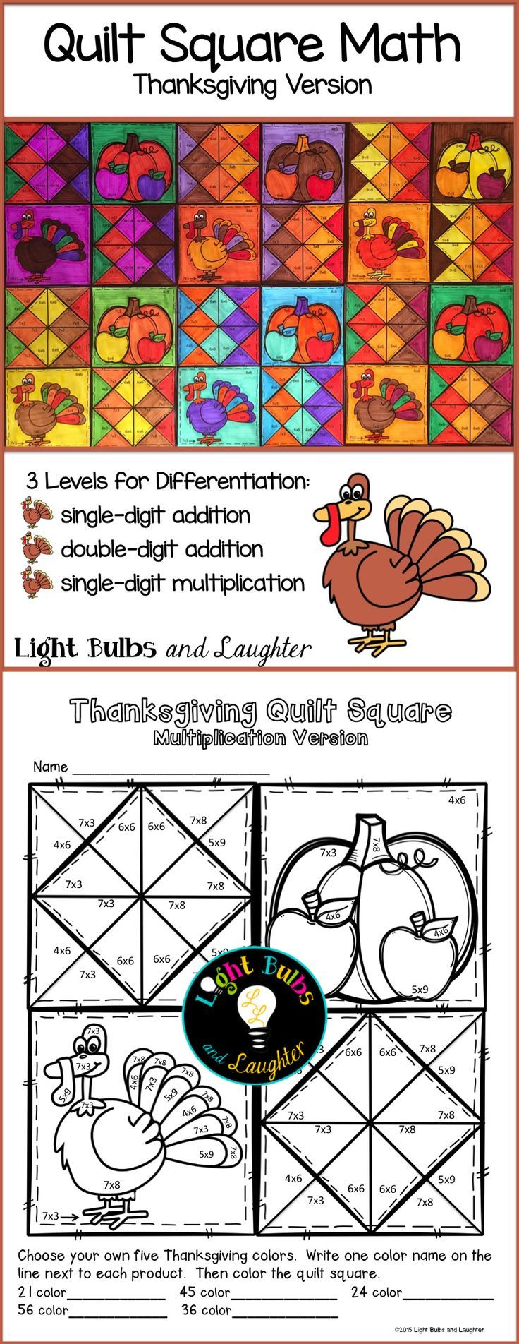 Celebrate Thanksgiving and practice math facts at the same time ...