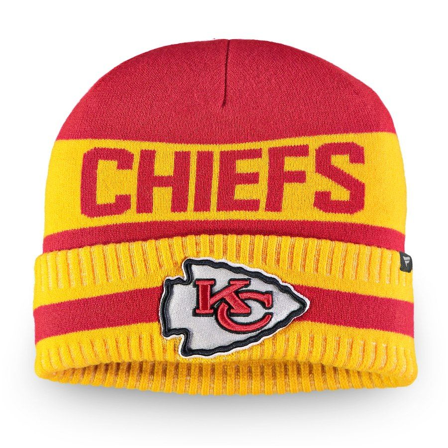 official photos d014d 8f632 Men s Kansas City Chiefs NFL Pro Line by Fanatics Branded Red Yellow Iconic  Core Cuffed Knit Hat, Your Price   21.99