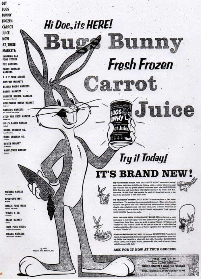 Bugs Bunny Carrot Juice #print #ad The TERMITE TERRACE TITANS