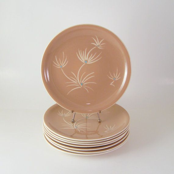 1950s Dishes: Vintage Harkerware Dinner Plates, Set Of 8, Harker Pottery