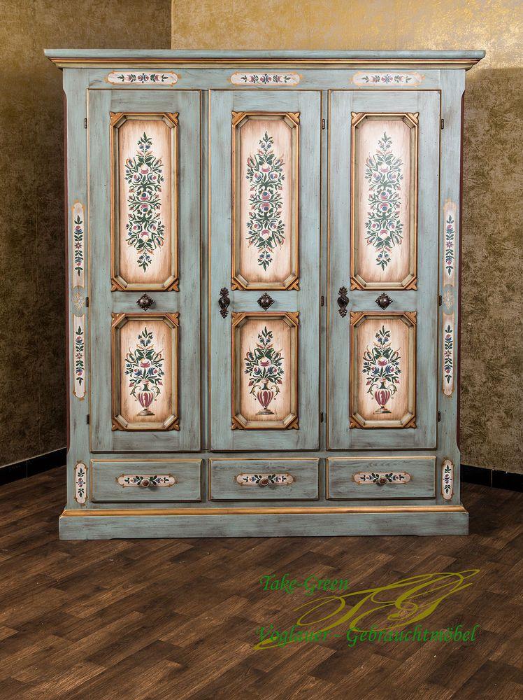 Schlafzimmerkasten vollholz  Voglauer Anno 1700 Altblau Bauernschrank Kleiderschrank Landhaus ...
