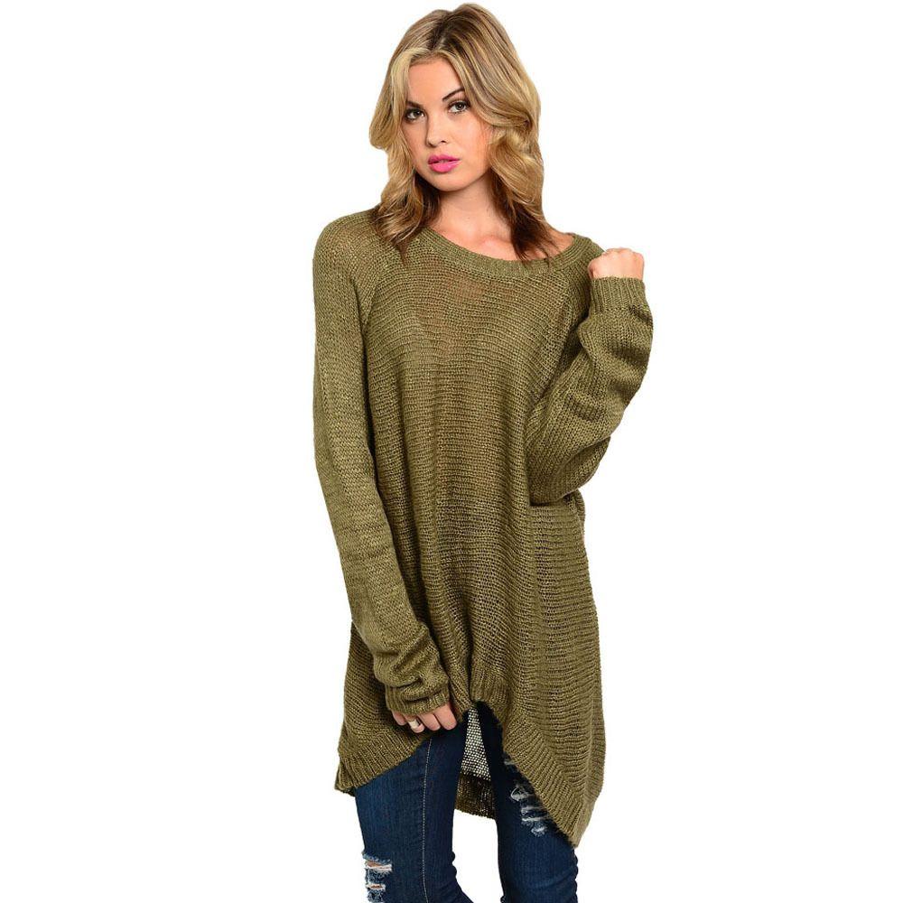 Feellib Women's Olive Green Oversized Sweater | Olive green sweater