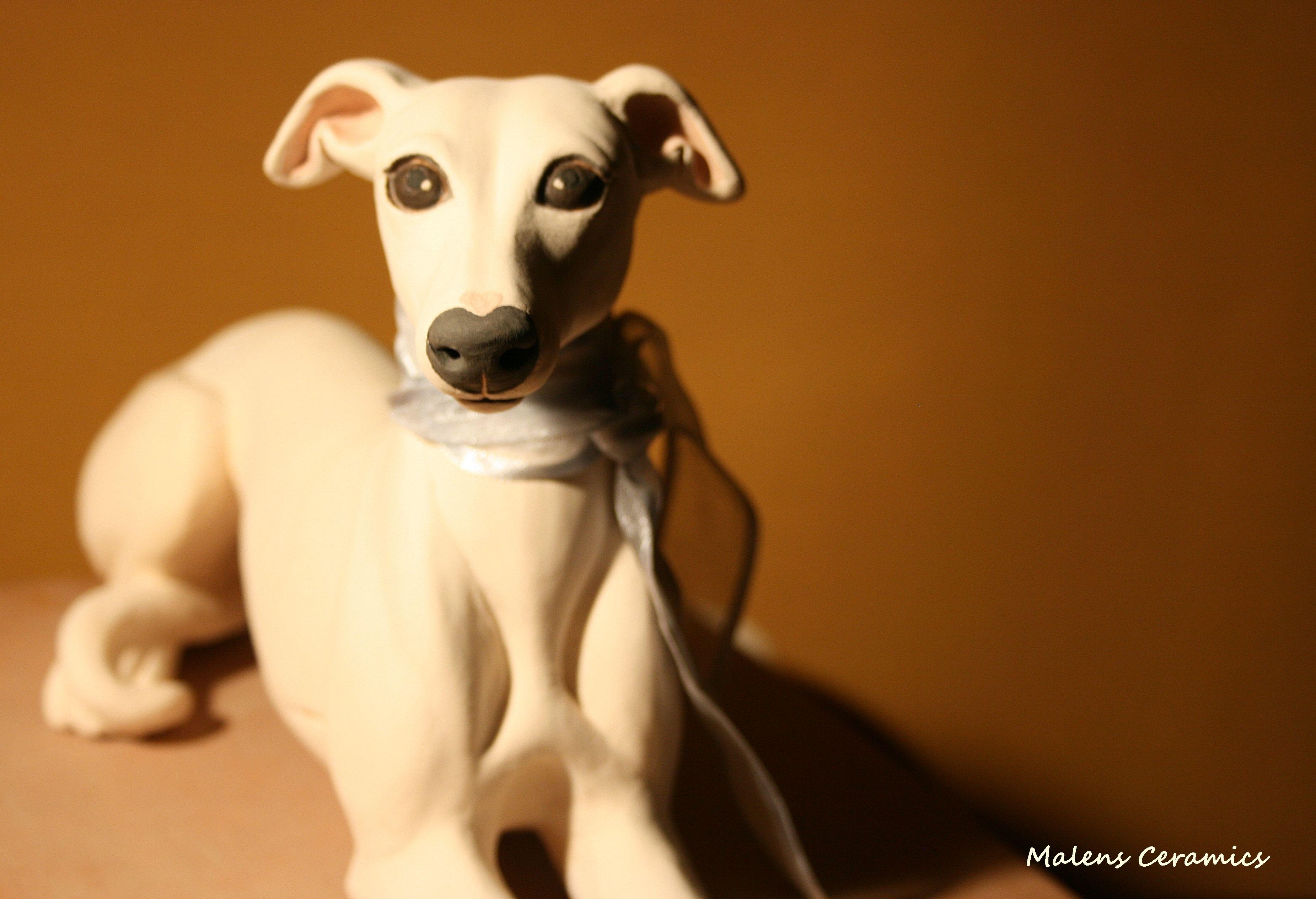 Hungarian Greyhound Ceramic Sculpture By Malens Ceramics