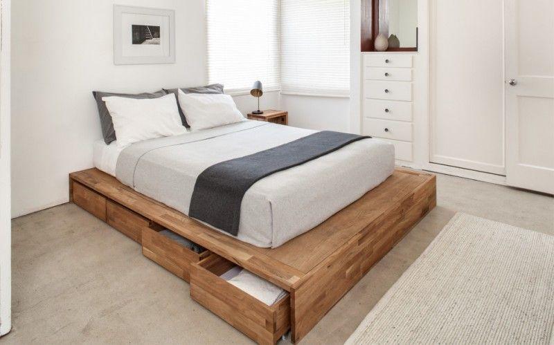 Contemporary Platform Bed With Under Storage Drawers White
