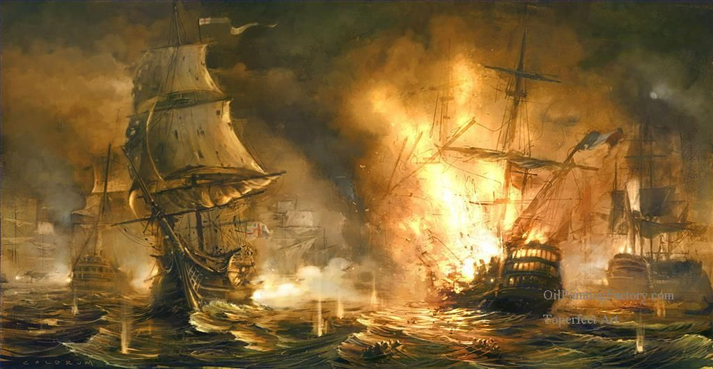 SEA BATTLE OF BRITISH /& DUTCH NAVY PAINTING NAVAL WAR ART REAL CANVASPRINT