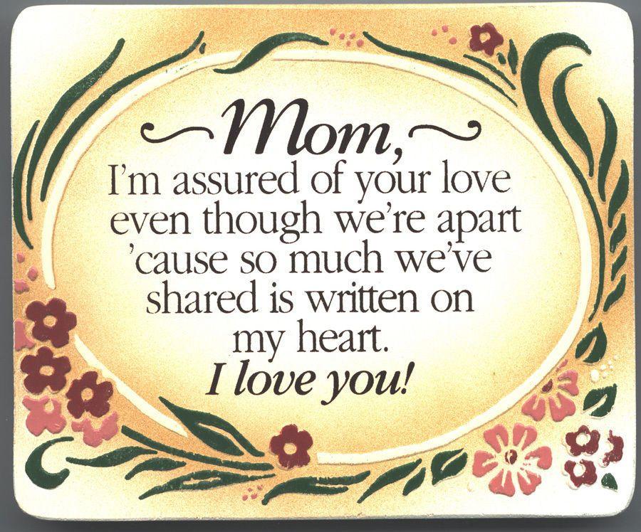 Mom Gift Frame Wall Art Plaque I Love you Wedding Birthday Present ...