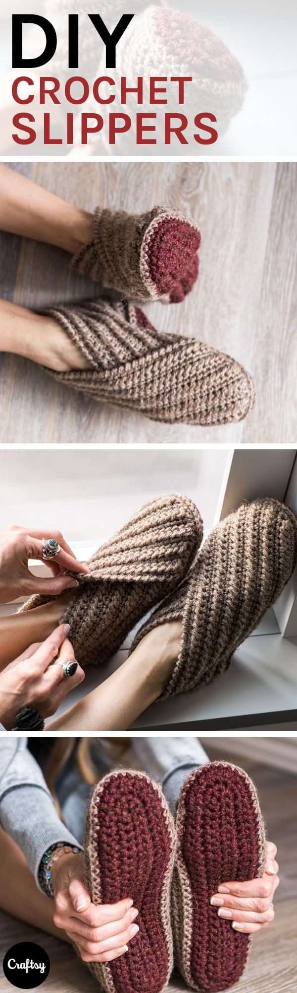 Rustic Wrap Slippers Crochet Kit | Hausschuhe, Häkeln und Stricken