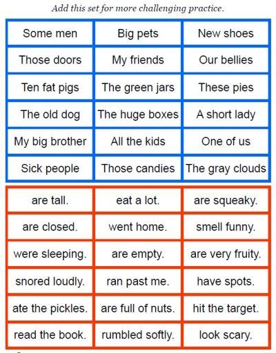 Sentence Maker simple printable FREEBIE on FransFreebies com