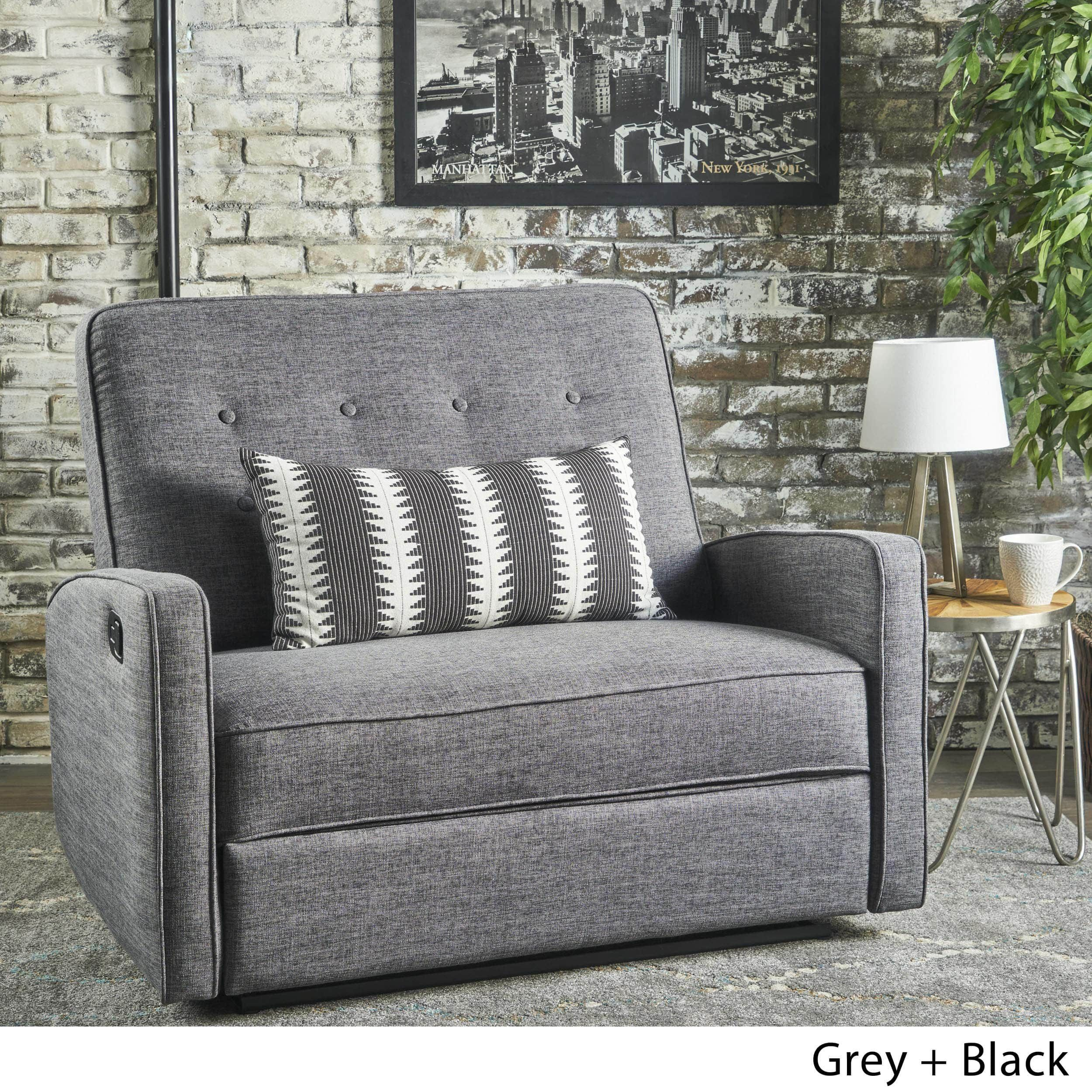 Calliope Buttoned Fabric 2 Seater Recliner Club Chair By Christopher Knight  Home