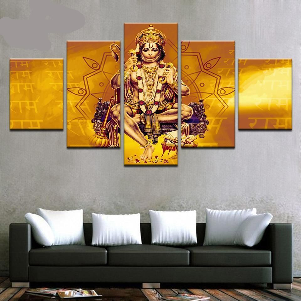 a5b992ab305 Lord Hanuman - Superior Quality Canvas HD Printed Wall Art Poster 5 Pieces    5 Panel Wall Decor