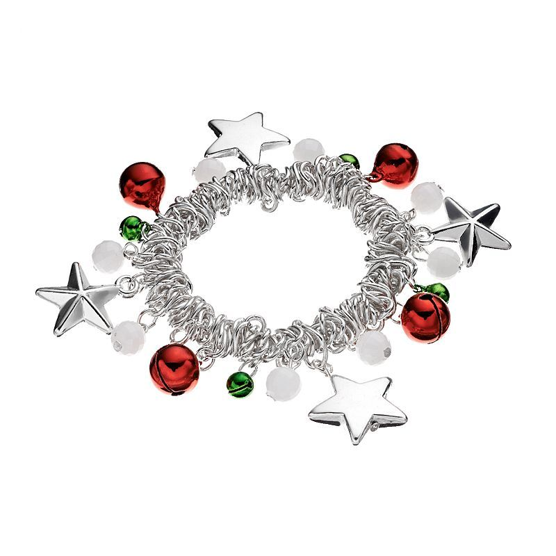 Jingle Bell, Star and Bead Stretch Bracelet, Women's, multicolor
