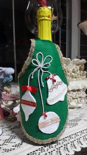 Delantal de botella con motivos navideños mi produccion Pinterest