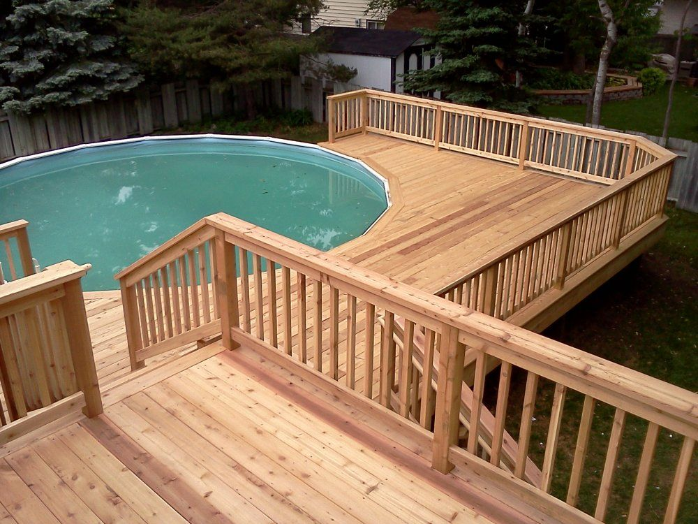 Here 39 s a multi level pool deck for an above ground pool for Above ground pool decks images