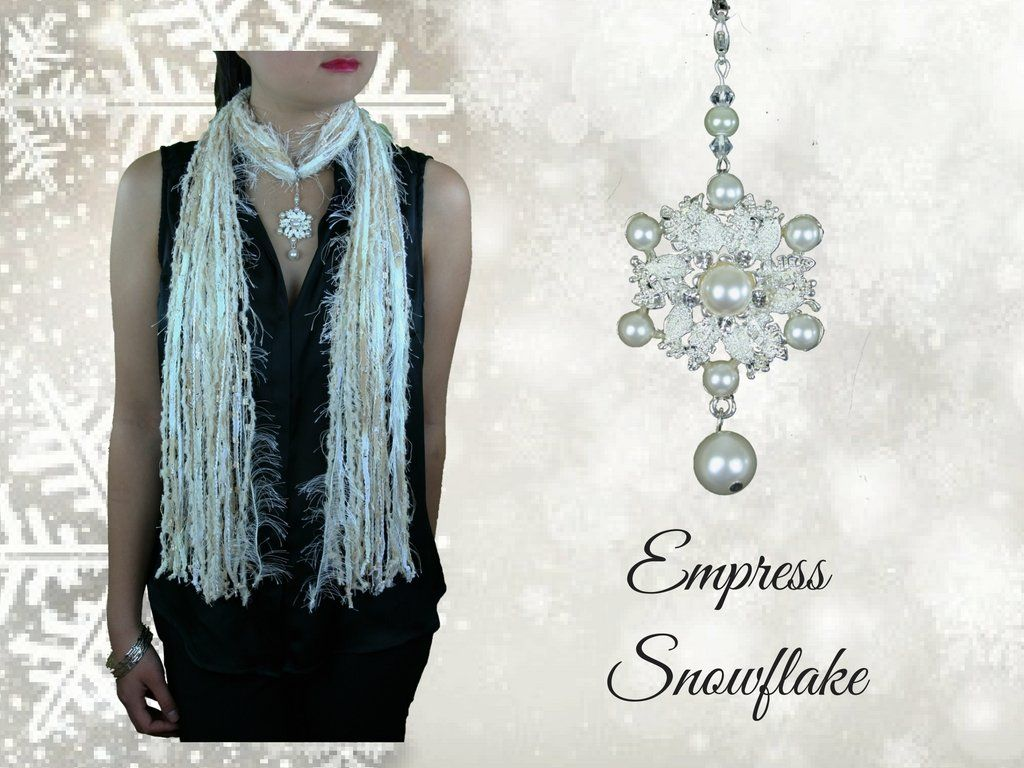 Holiday Faux Pearl Snowflake Scarf Necklace in Beige Blue Black White ~ Exquisite Snowflake Collection Empress Snowflake. Holiday Faux Pearl Snowflake Scarf Necklace in Beige Blue Black White ~ A beautiful combination of faux pearls, crystals and silver make this elegant pendant reminiscent of a snowflake. A beautiful statement piece for your holiday outfit! The jewelry piece also has 2 reflective crystals and pearlized bead. To see Red and Green Christmas colors for this pendant, please…