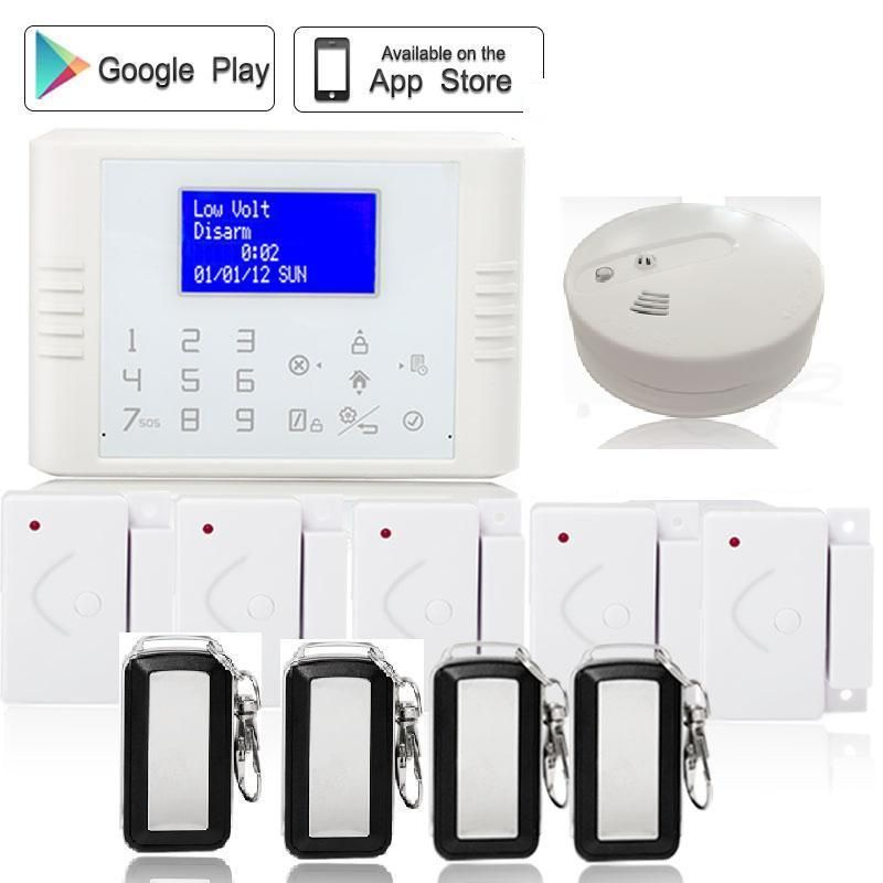 Russian French English433mhz App Control Touch Screen Gsm Pstn Dual Network Burglar Alarm Anti Theft Smoke Detector Do Security Alarm App Control Burglar Alarm
