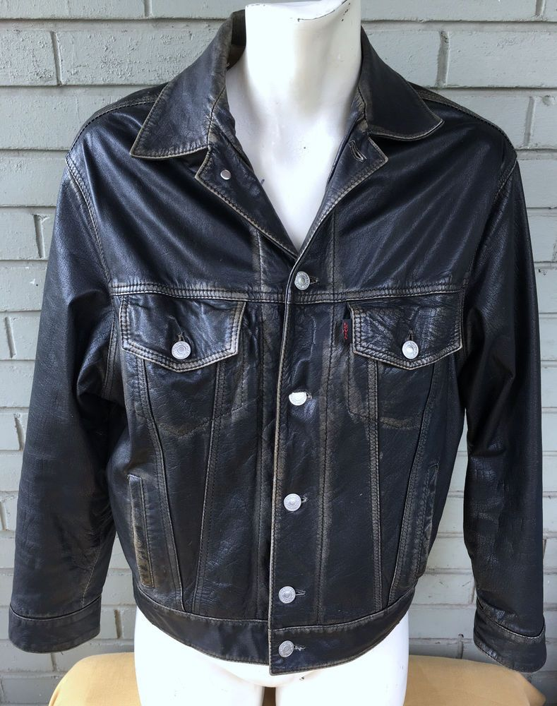 VTG Levi Strauss Black Leather Western Motorcycle Small