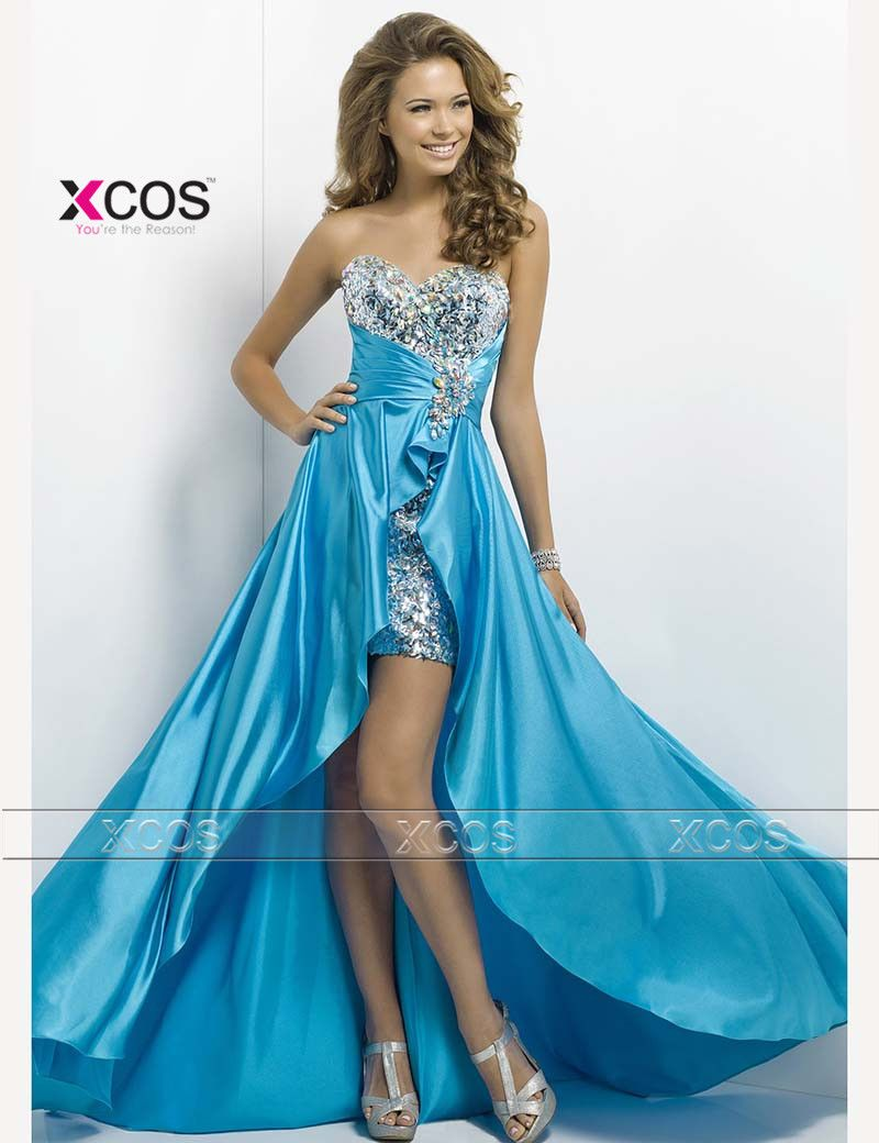 High Low Prom Dresses Sweetheart Evening Gowns 2016 Blue Silver ...