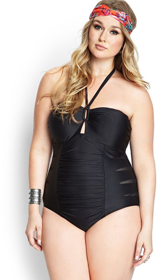 3dacf20438 Hunter McGrady for Forever 21, 40C bust, 35 inch waist, 47 inch hips.  FOREVER 21+ Cutout Craze Swimsuit on shopstyle.com #curvy #swimsuit  #plussize