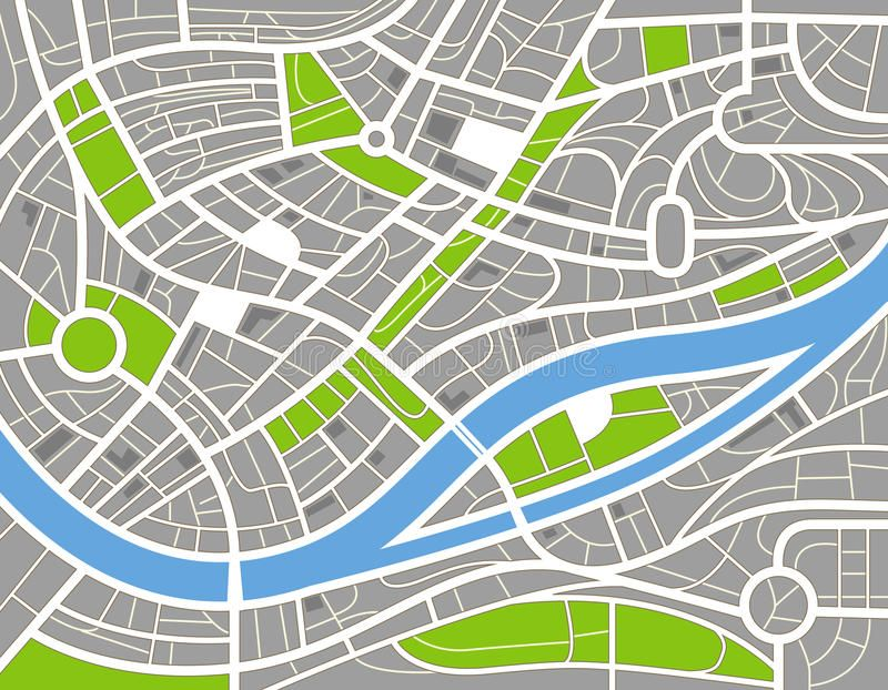 Abstract city map illustration. Abstract city map with the