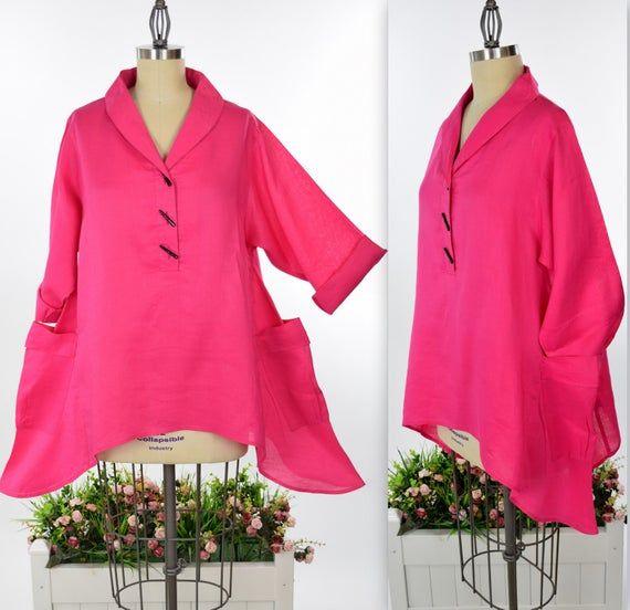 Ramie Linen Tunic, Lagenlook Tunic, Designer Tunic,Fuchsia Top, Crisp Linen Tunic, Asymmetrical Linen Top, Women Linen Tunic #linentunic