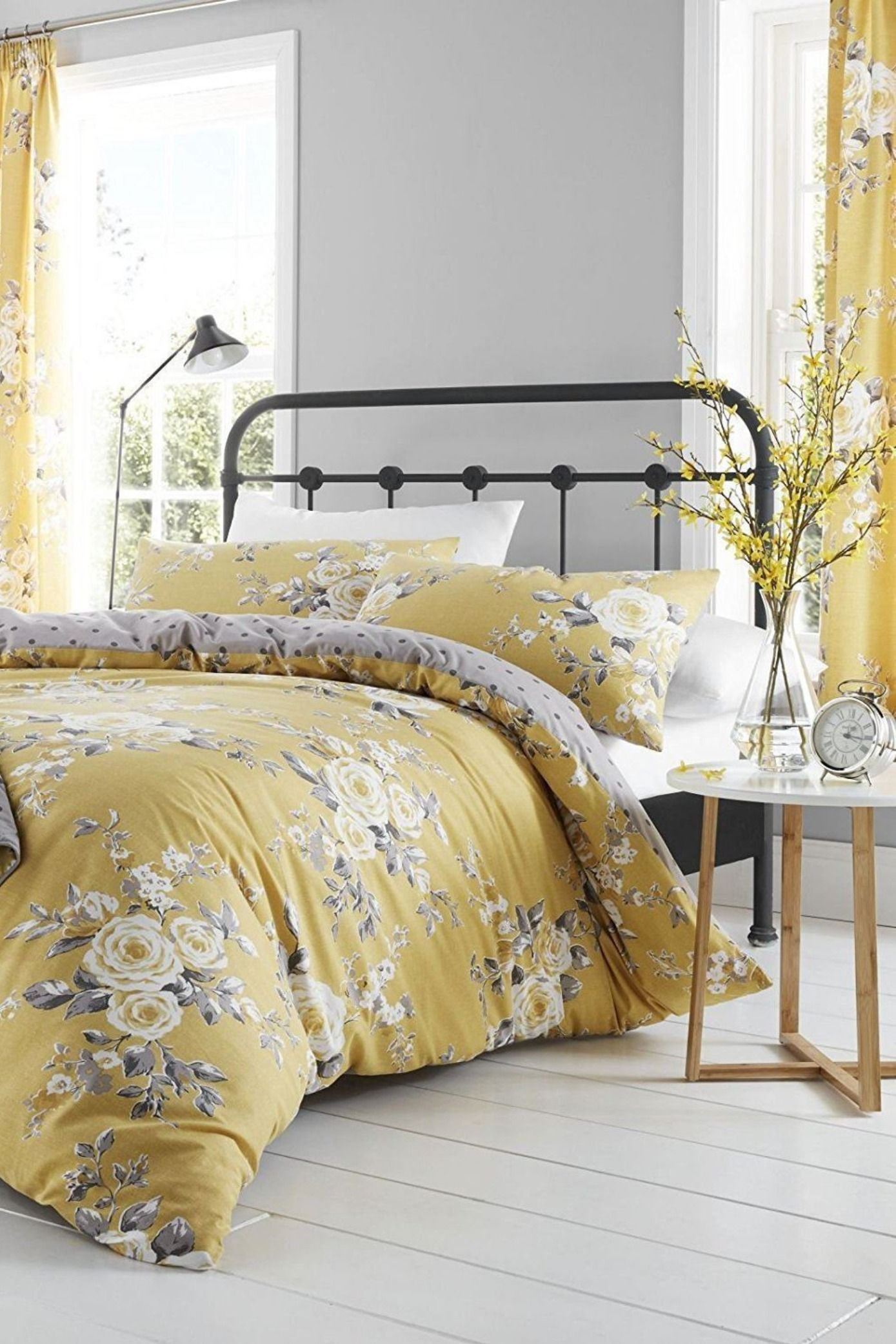 Catherine Lansfield Canterbury Ochre/Grey Yellow Floral Duvet