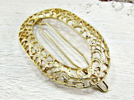 Vintage Gold Filigree Hair Barrette Clip, Oval Hair Barrette Clip, Art Nouveau Hair Barrette Clip, 1960s Fashions Hair Accessories for Women by RedGarnetVintage