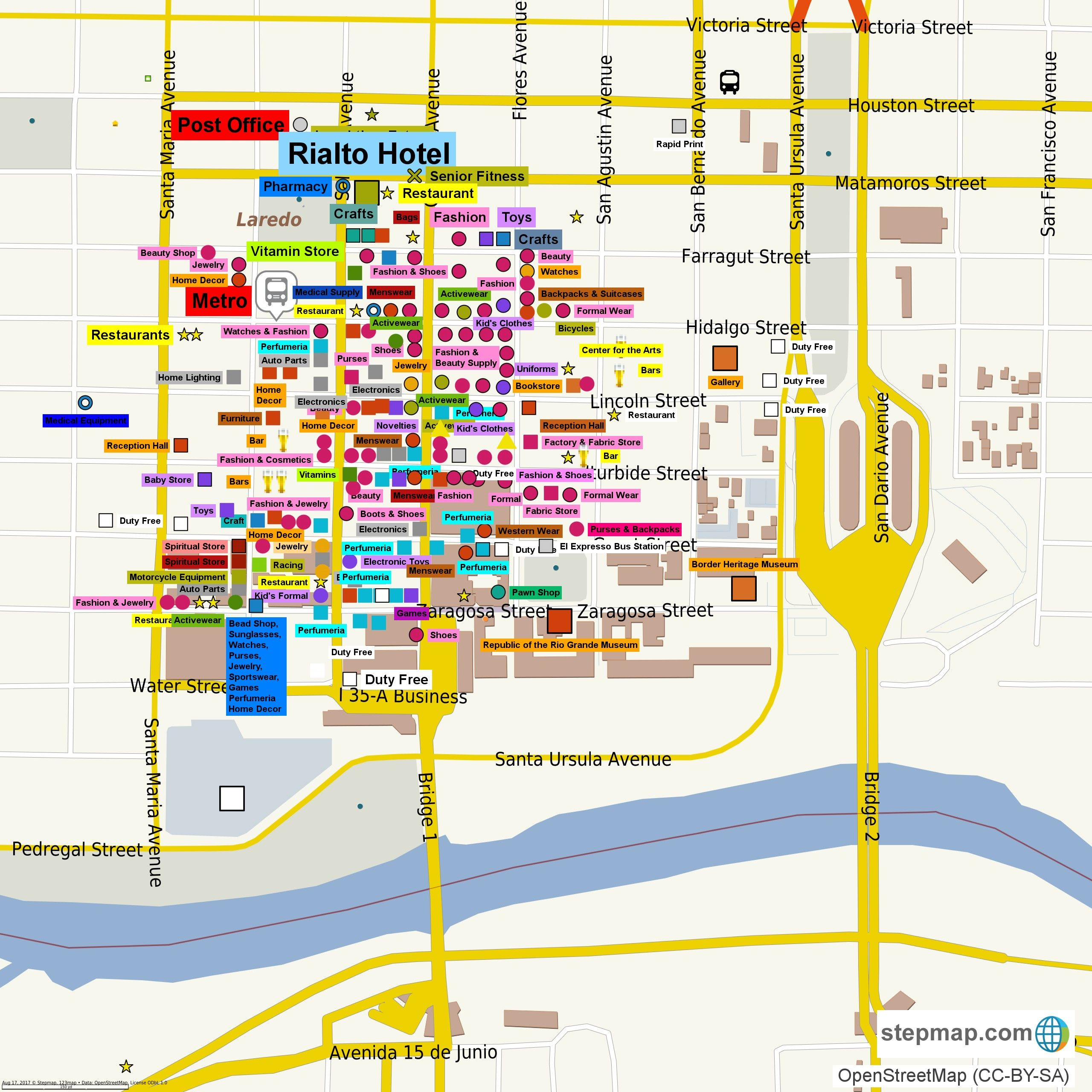 Interactive Map of Downtown Laredo Shops Things to do in Laredo