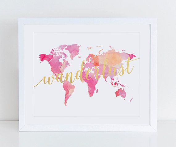 Large watercolor world map poster art print instant download wanderlust watercolor pink world map art print poster watercolor map wall decor gumiabroncs Image collections