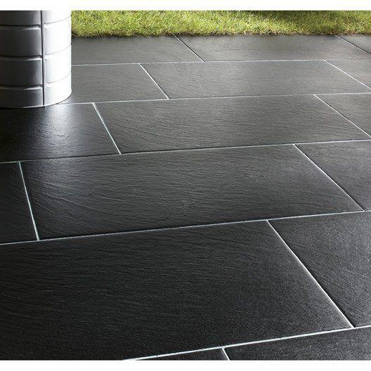 carrelage noir effet pierre vesuvio l 30 x l 60 4 cm d co pinterest carrelage noir. Black Bedroom Furniture Sets. Home Design Ideas