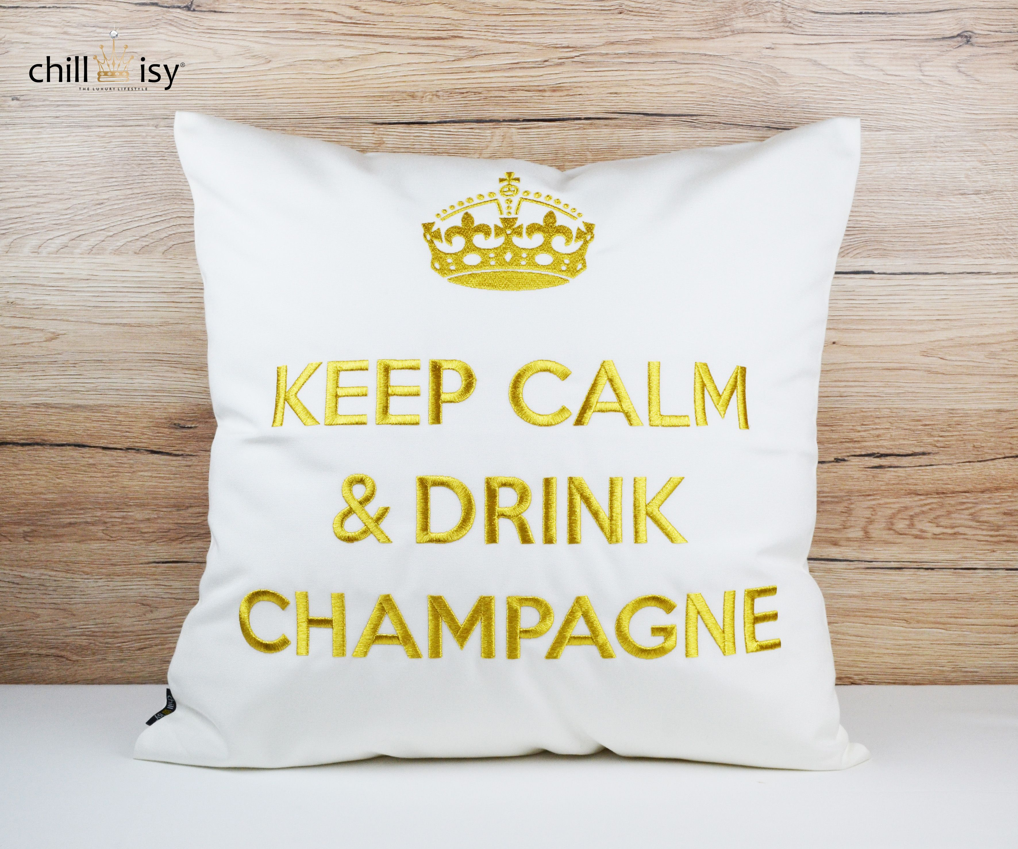 KEEP CALM & DRINK CHAMPAGNE weiß/gold kissen pillow by chillisy® http://amzn.to/1A0Bxv5