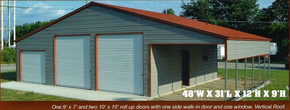 48x31 Garage Storage Free Del Install Serving Most States Prices Vary Steel Storage Buildings Carport With Storage Built In Storage