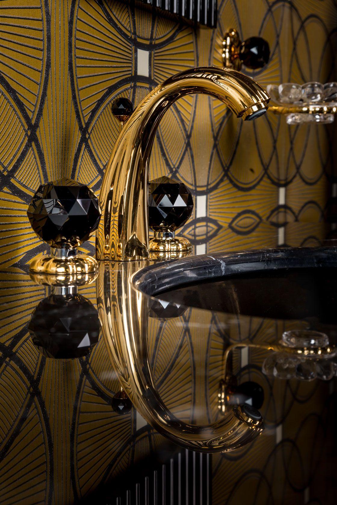 Florale Crystal Waschtisch 3 Loch Armatur In 24 Karat Gold Und Schwarzen Swarowski Kristallen Armaturen Bad Badarmaturen Armaturen